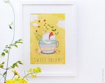 Print original art, room decor - Sweet Dreams