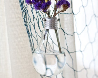 Vintage Flower Vase from Recycled Light Bulb, Wedding Decor, Hanging Light Bulb, Cottage Chic, Outdoor or Rustic Decor