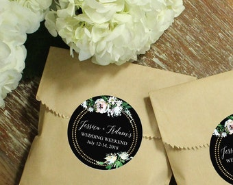 24 Paper Favor Bags - White Rustic Rose Label | Wedding Favor Bags | Bridal Shower Favor Bags | Kraft Favor Bags | Baby Shower Favors | Bags