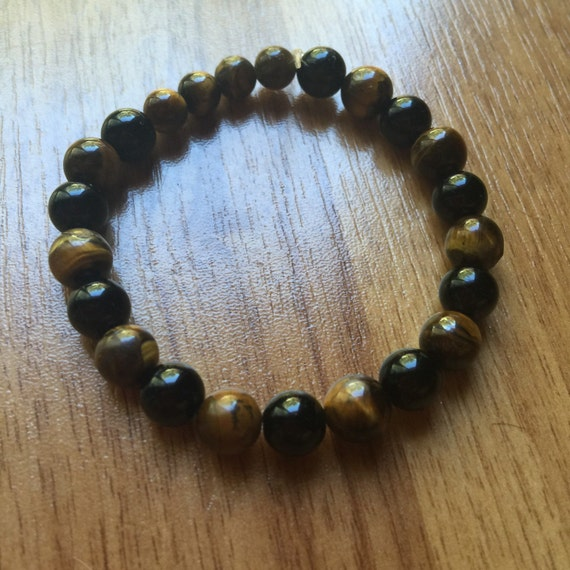 Handmade Black Onyx and Tigers Eye stretch bracelet