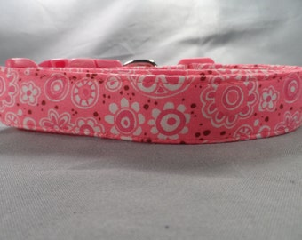 Frilly Flowers Pink Girl Dog Collar