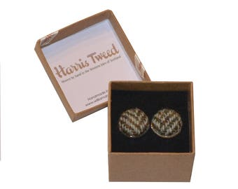 Harris Tweed Highland Herringbone Handmade Boxed Cufflinks