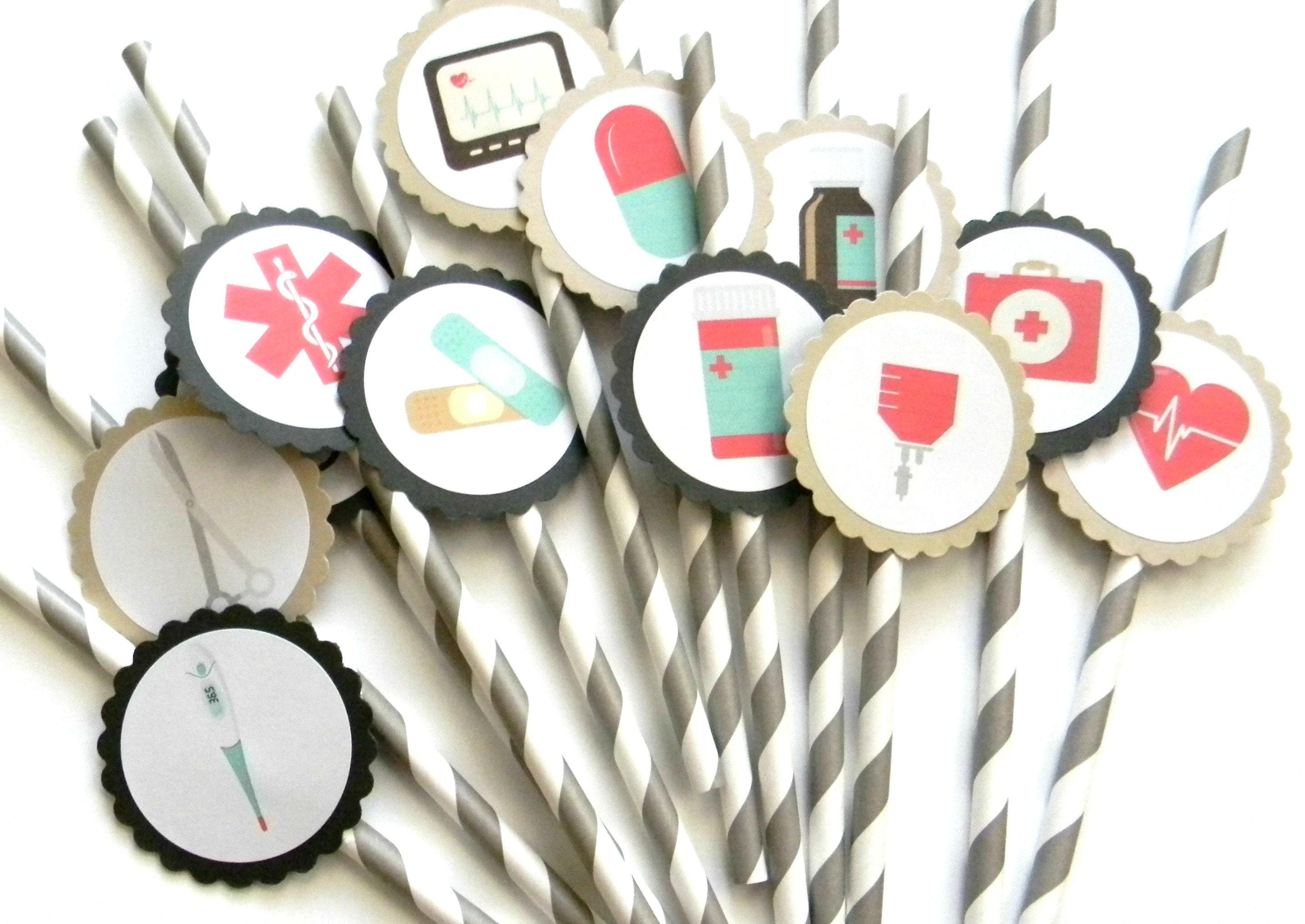 12 Vintage Medical Party Straws Doctor Theme Birthday