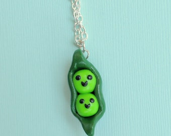 Pea in a Pod Polymer Clay Necklace - Two Peas in a Pod Charm Necklace, mothers necklace, sisters necklace, twin mom, pea pod jewelry
