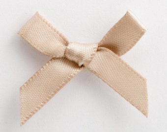 Satin Ribbon Pre Tied 3cm Bows - 100 Pack - 50 pack - 10 pack -  Taupe