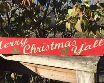 Merry Christmas Y'all sign/hand painted sign/farmhouse holiday/vintage sign/rustic sign/retro style sign/holiday sign/rustic Christmas decor