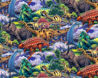 BTY Prehistoric AGE of the DINOSAURS Print 100% Cotton Quilt Craft Fabric by the Yard