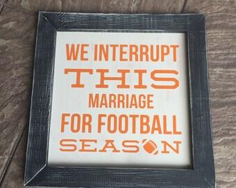 12 x 12 farmhouse football framed sign