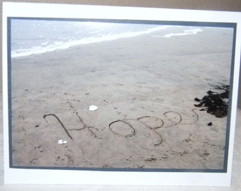 Photo card, HOPE, sand, beach, ocean, California