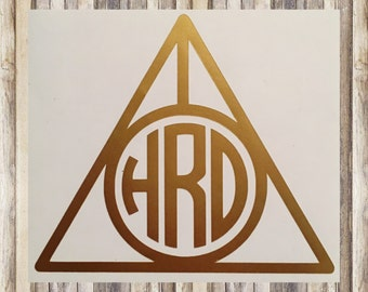 "Personalized Harry Potter ""Deathly Hallows"" Inspired Monogrammed Decal (By WIDTH)"