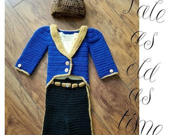 crochet 'The Beast' inpired Deluxe set- size newborn-12months