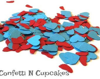 Baby feet and heart confetti, red baby shower decor, turquoise table confetti, gender reveal shower, confetti balloon, dr. seuss party decor