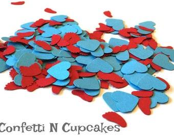 Bébé pieds et confettis coeur, décor de douche de bébé rouge, confettis de table turquoise, douche reveal sexe, ballon confettis, Dr. seuss décor de partie