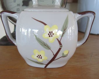 Vintage Weil Ware Sugar Bowl in Blossom Pattern Mid Century California Pottery Gray Ceramic with Yellow Flowers