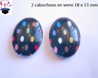 2 cabochons glass 18mm x 13mm multi color polka dots theme