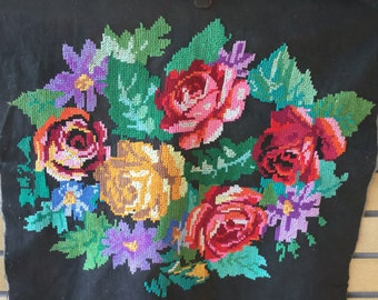 Vintage Embroidered Picture Finished Completed Embroidery Ukrainian Handmade Red Yellow Pink Purple Roses Cross Stitch Tapestry