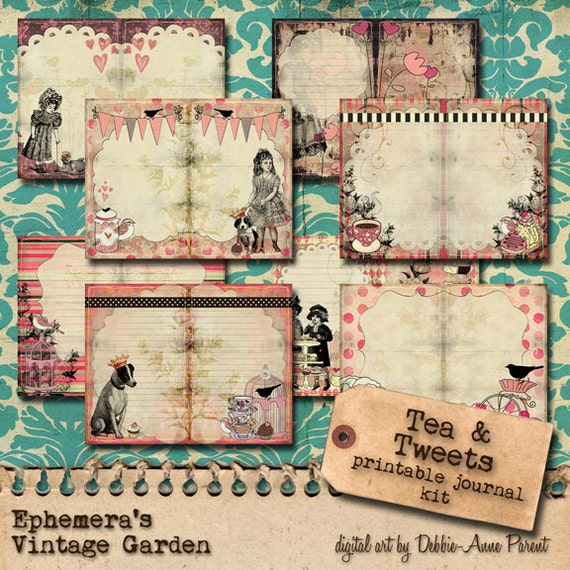 Tea and Tweets - Printable Journal Kit