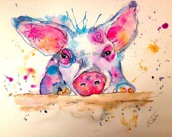 Pretty Pink Piggy Original Watercolour