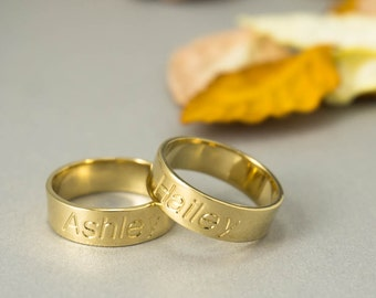 Personalized Gold Ring Gold Name Ring Diamond Name Ring