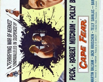 Spring Sales Event: CAPE FEAR Movie Poster 1962 Gregory Peck