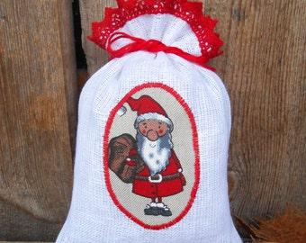 Christmas Gift Bag Santa Sack Gnome Elf Tomte Nisse Holiday Gift Bag Linen Gift Bag Christmas Bag  Gift Wrap Swedish Christmas Scandinavian