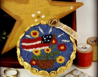 Liberty flag Punchneedle Pattern PDF - needle punch floss Americana Patriotic primitive prim