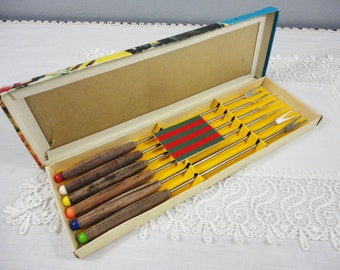 CLEARANCE SALE! Vintage Mid-Century Stainless Steel Fondue Forks - Set of 6 in Original Box