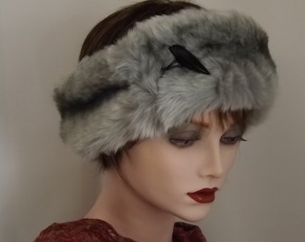 Ladies Silver Grey Faux Fur Ear Warmer, Headband