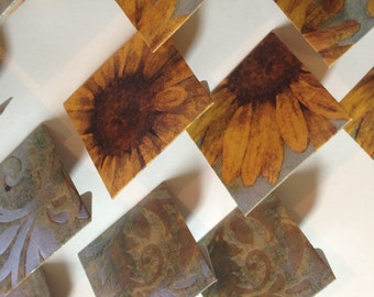 12 Die Cut Sunflower/Paisley Cardstock Mini Envelopes with Scalloped Inserts- Enclosure Cards