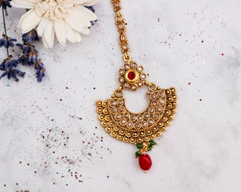 Classic Maang Tikka - Indian Headpiece - Bridal Hair Accessories - GoldTone with Magenta Accents