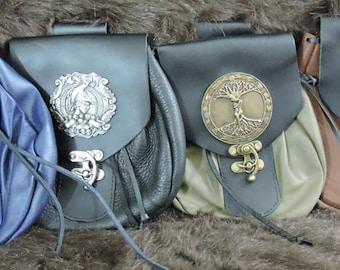 Sporran Design Leather Belt Bag / Pouch Medieval,In Stock XLarge, Bushcraft, Costume, Ren Faire, Large Celtic Medallion