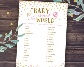Baby Around the World Baby Shower Games Printable, Baby Shower for Girl, Instant Download, Pink and Gold Glitter, Baby in different language