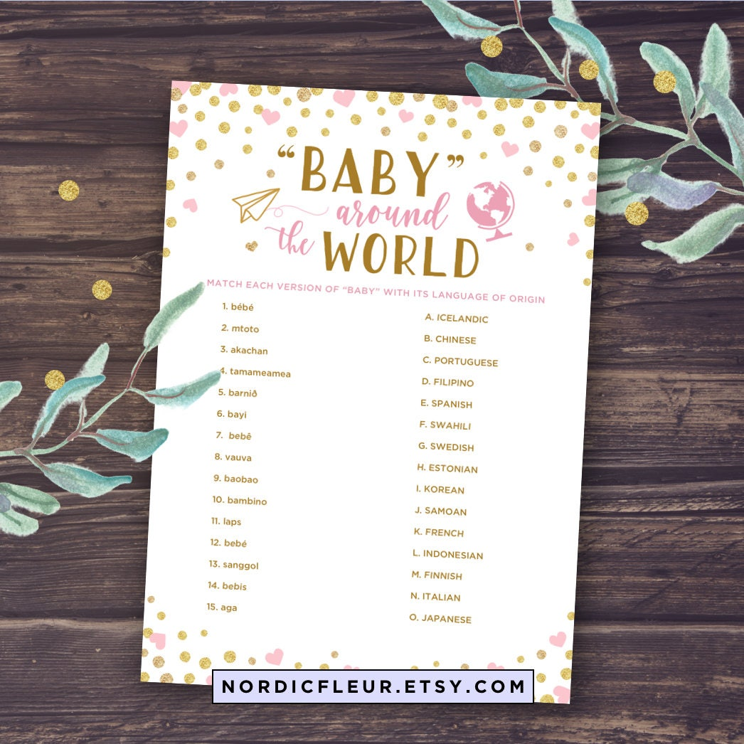 Baby Around the World Baby Shower Games Printable Baby Shower