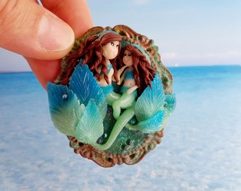 Fimo sirens, Mom and daughter-polymer clay mom and daughter mermaids