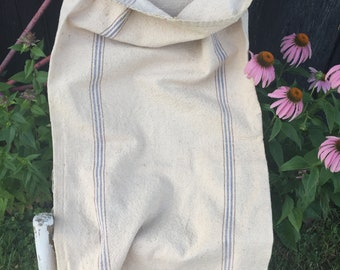 Vintage Grain Sack, Extra Heavy Cotton Canvas Fabric with Woven Blue Brown Stripes. Aged Fabric, Upcyle Repurpose Rustic Farmhouse Decor
