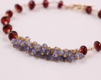Tanzanite Bracelet, Garnet Bracelet, Gemstone Cluster Bracelet, Wire Wrapped Bracelet, 14k Gold Filled, Red and Lavender