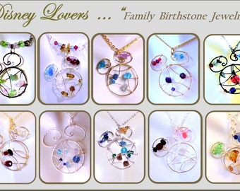 family birthstone jewelry - Mother jewelry - mothers day gift, Disney Lover gift,Disney jewelry,mickey jewelry,Mother gift,daughter gift