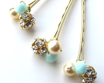 Mint and Gold Hair Pins, Mint Green Wedding, Glitz and Shimmer