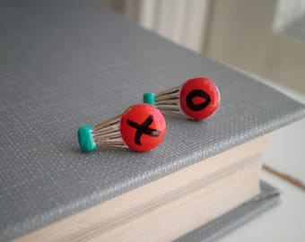 Hot Air Balloon XO Stud Earrings - Hand Painted Balloon Studs Red Black & Teal Blue Up And Away Earrings BFF Valentine Jewelry Gift for Her