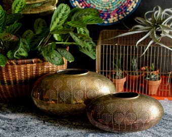 Pair of Large Brass Vases - Midcentury design