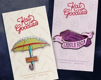SET Buffy The Vampire Slayer: Hard Enamel Pins (Gold Glitter Umbrella Buffy Summers Purple Glitter Crystal Willow Rosenberg)