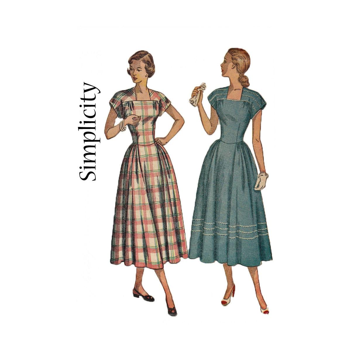Einfach zu nähen 1948 quadratischen Ausschnitt Kleid mit