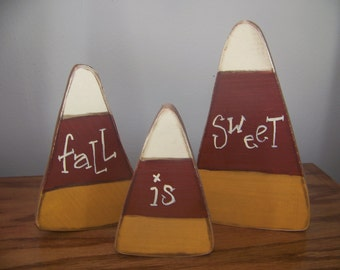 Set of 3 Primitive Wooden Candy Corns