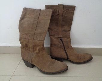 Cowboy western boots, Beige Boots, Size EU 39, US 7 7.5, UK 6