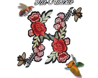 Pack of Iron on Flowers Patch, Bee Patch, Hummingbird Patch, Par Amour Patch 7 pcs