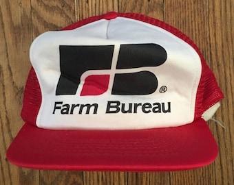 Vintage Farm Bureau Mesh Trucker Hat Snapback Baseball Cap