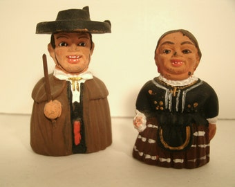 Pottery Pair Spanish Man And Woman Handmade Figurine Hand Painted Clay Folk Art Husband Wife Couple Ethnic Dress Spain Mexican Miniatures