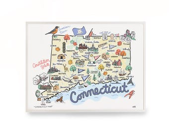 """Connecticut Map, 9""""x12"""" Connecticut Print, Unframed, Printed on watercolor paper"""