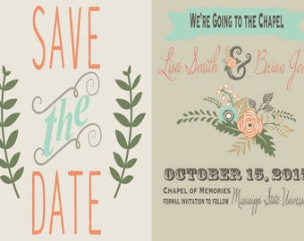 We're Going to the Chapel Vintage Floral Save the Date