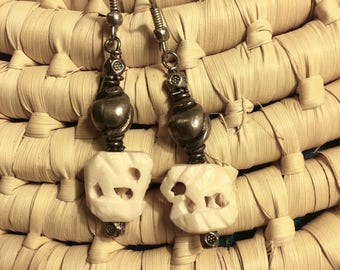 Hand Carved Elephant Dangle Earrings